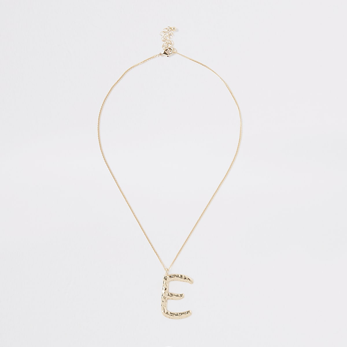 Gold colour large initial 'E' necklace