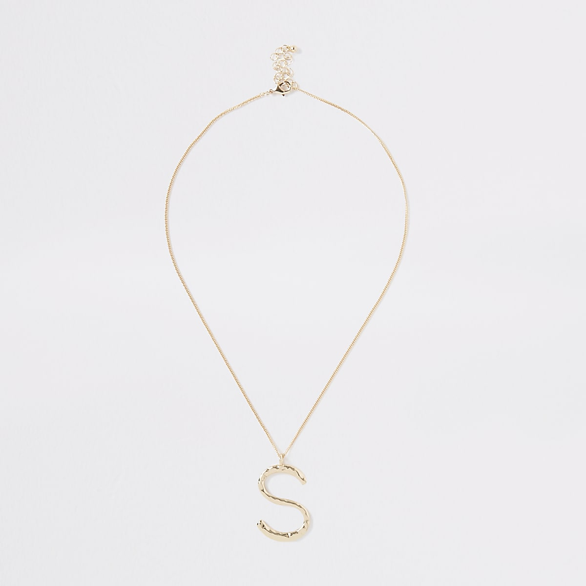 Gold color large initial 'S' necklace