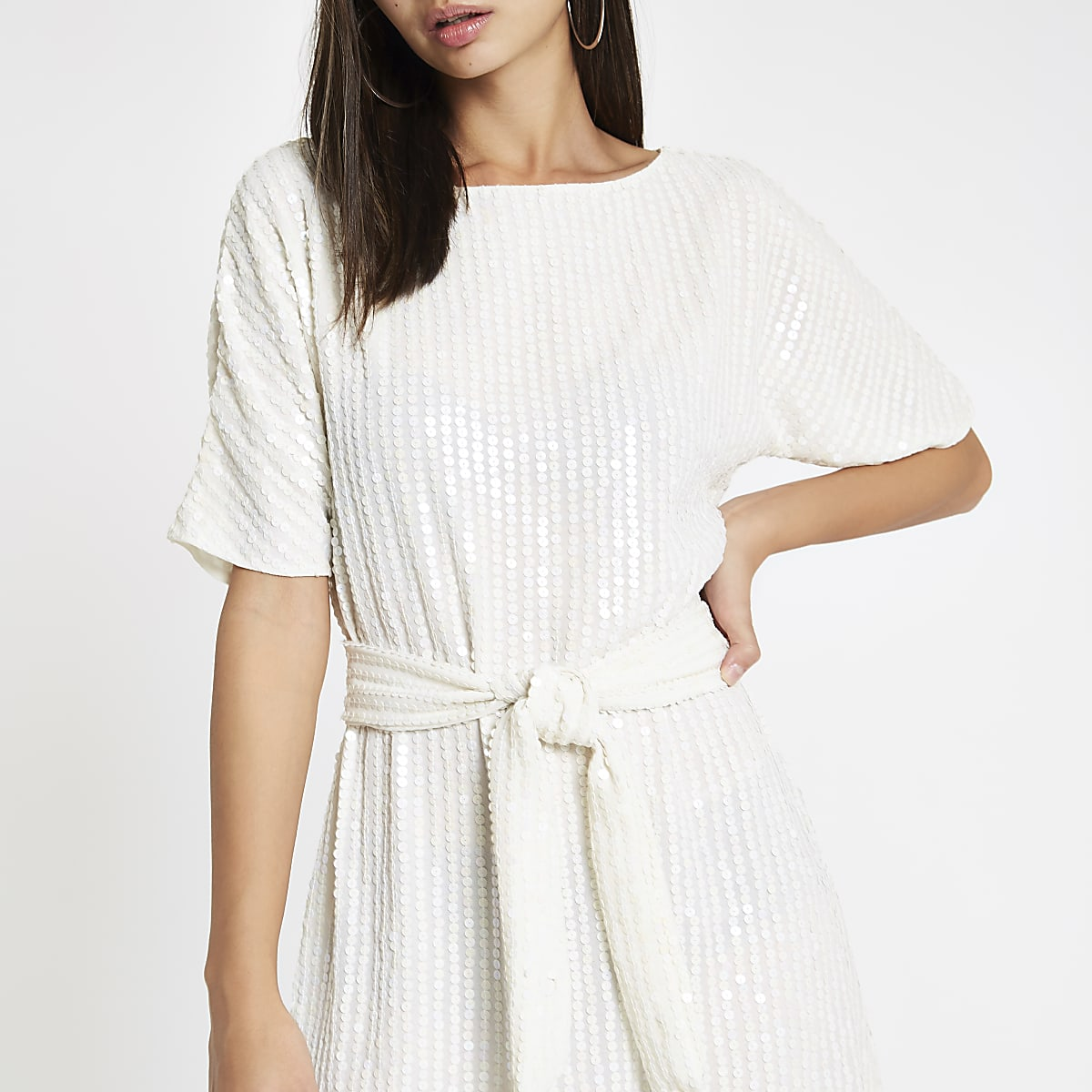 White sequin tie waist tunic dress