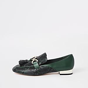 Green snake snaffle front loafer