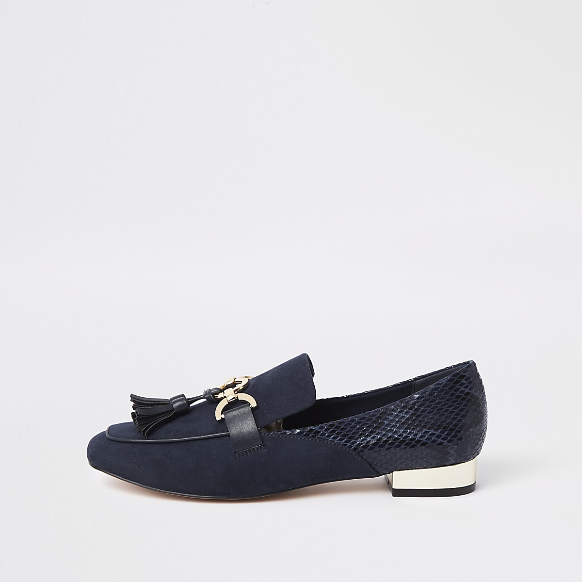 Navy snake snaffle front loafers