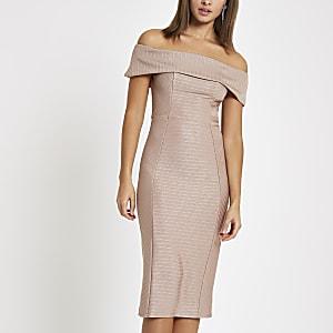 Light pink bardot bandage mini bodycon dress
