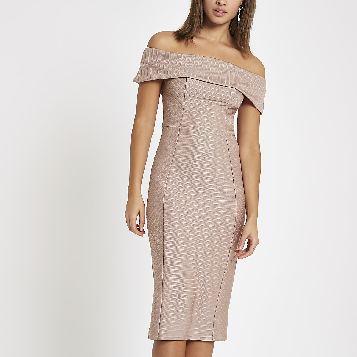 Light pink bardot bandage mini bodycon dress