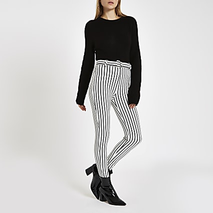 White stripe D ring belted leggings