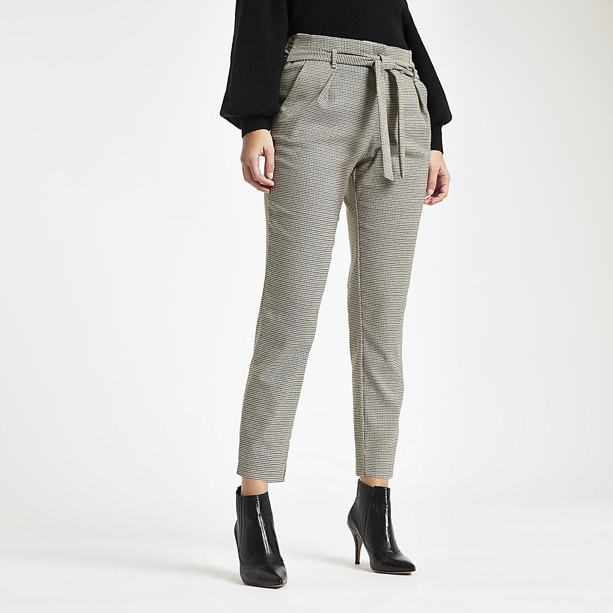 Bruine smaltoelopende broek met pied-de-poule-motief