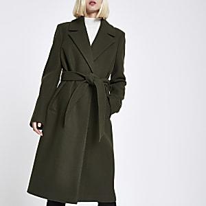 Khaki knitted belted robe coat
