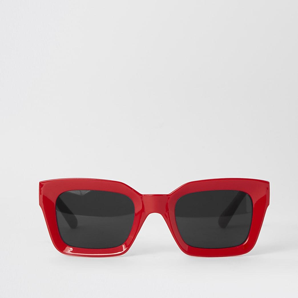 Rode zonnebril met vierkant montuur