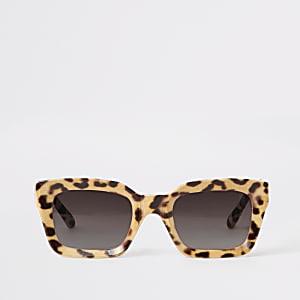 Braune, glamouröse Sonnenbrille mit Leoparden-Print