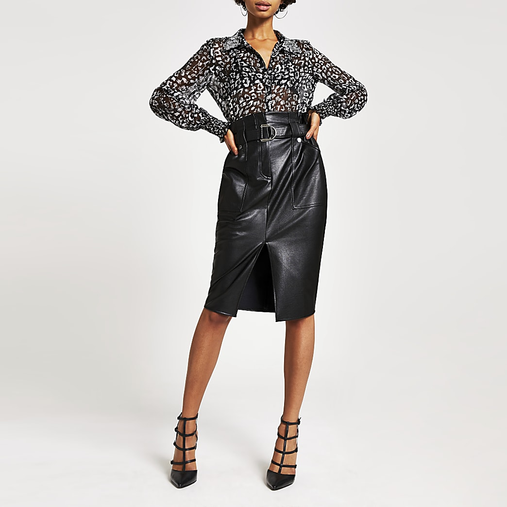 Black faux leather paperbag midi skirt