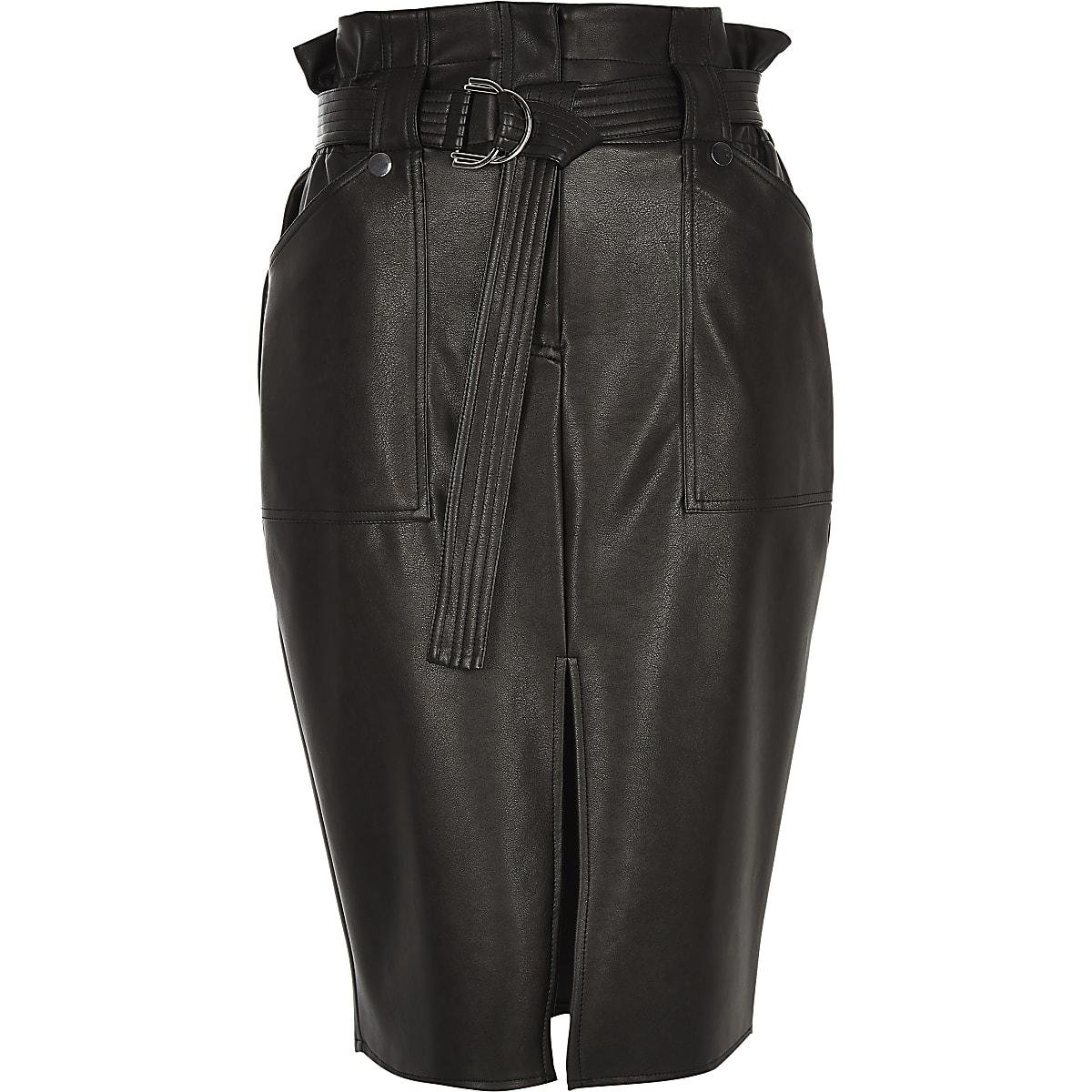 Jupe Crayon Noir Taille Haute 3