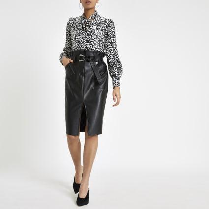Black paperbag waist pencil skirt