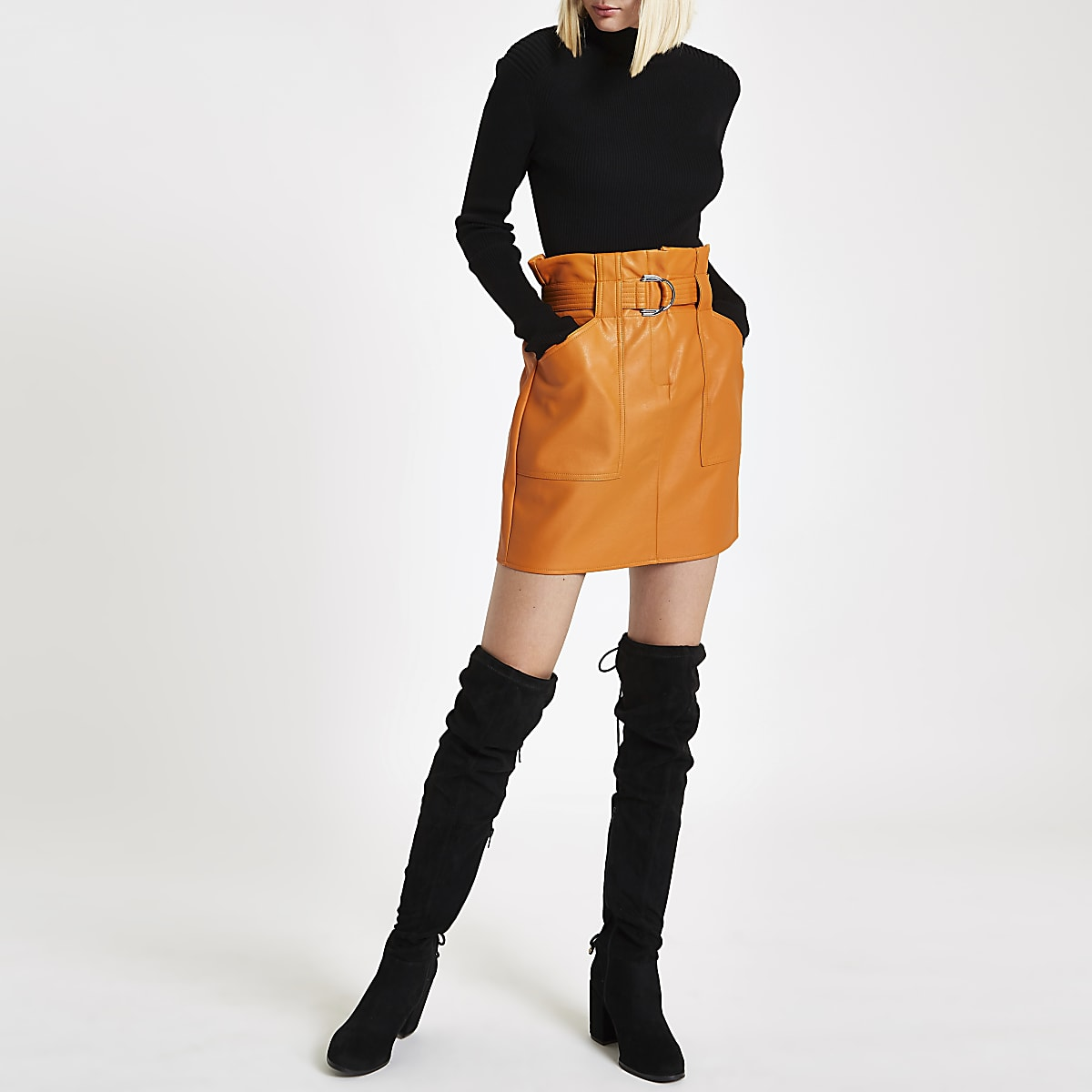 Mustard paperbag belted mini skirt