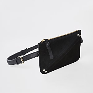Black leather pouch belt bag