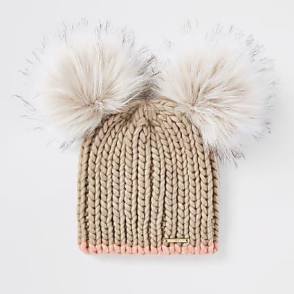 Beige faux fur double pom pom beanie hat