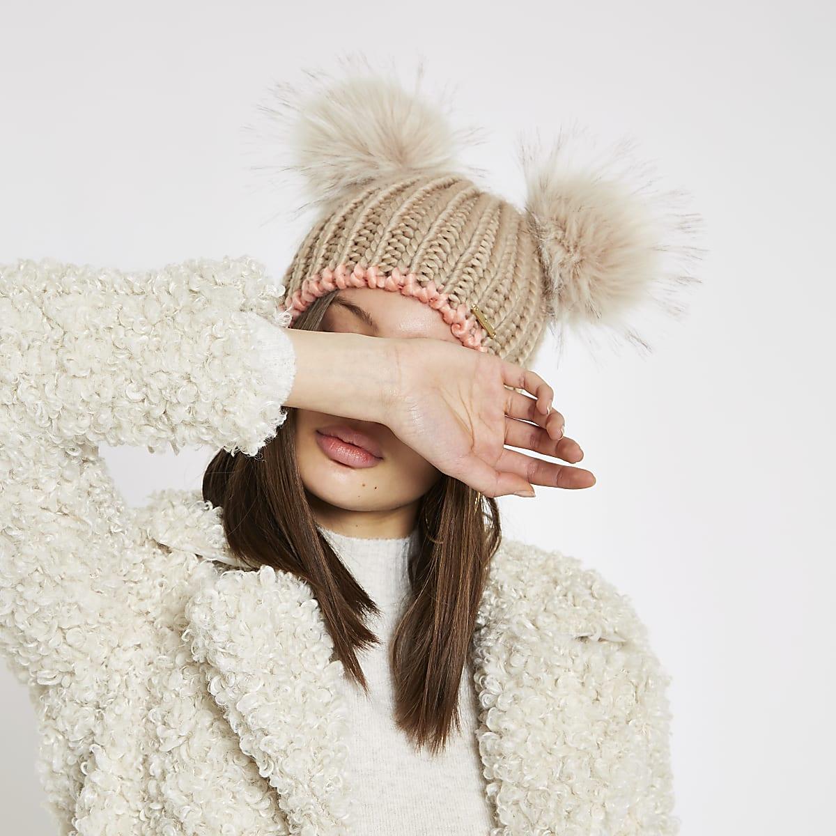 297a22cbf20 Beige faux fur double pom pom beanie hat - Hats - Accessories - women