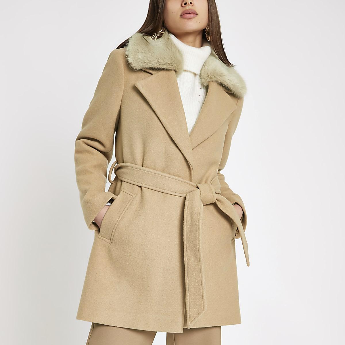 Light brown faux fur trim robe coat