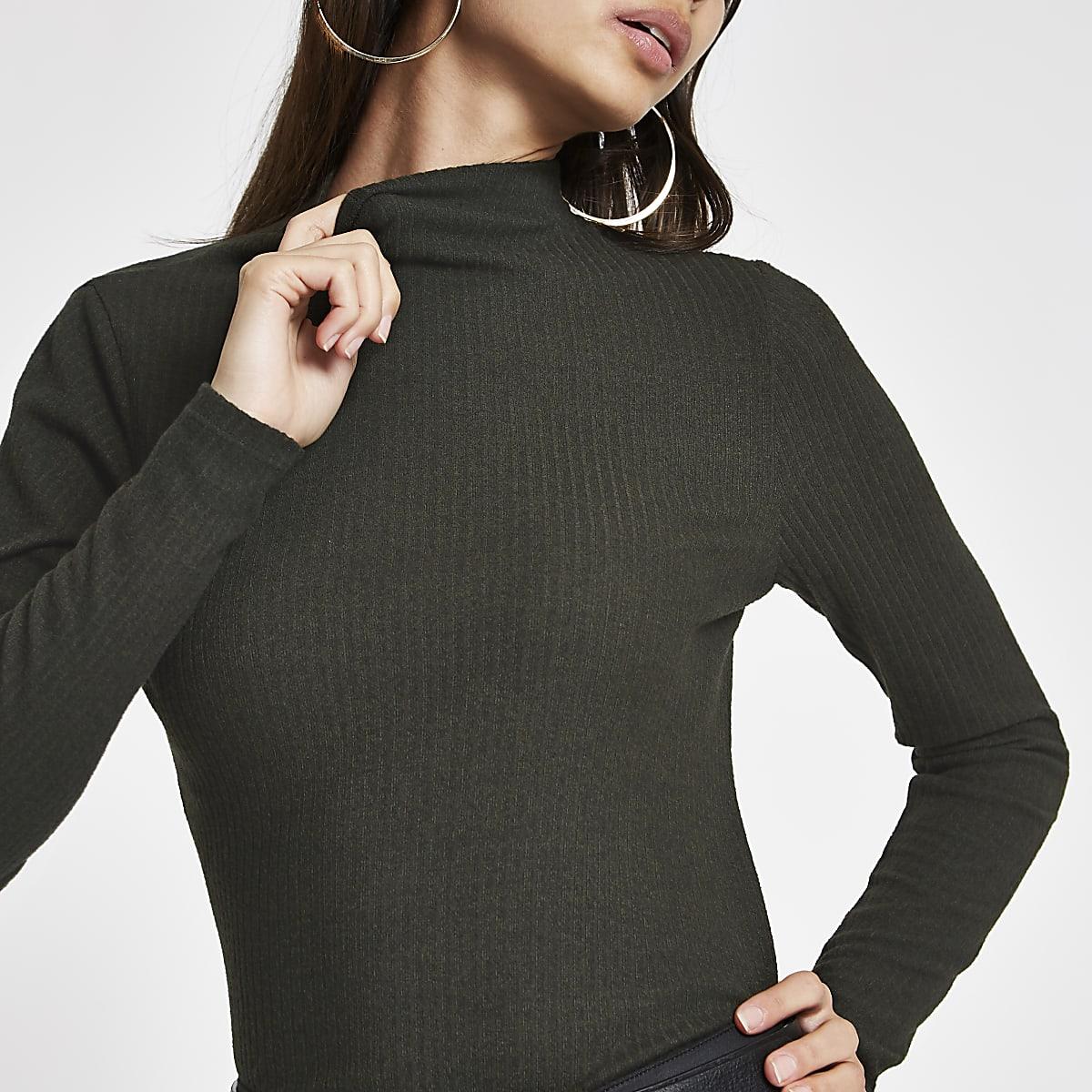 Khaki brushed ribbed high neck top