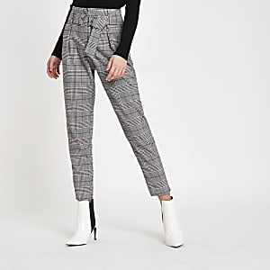 7e91ce8f0b36 Red check belted tapered trousers