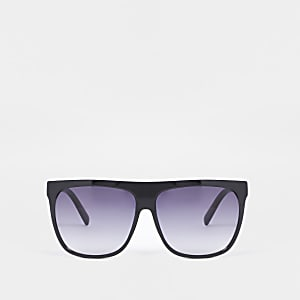 Zwarte zonnebril met visor en plaat bovenkant