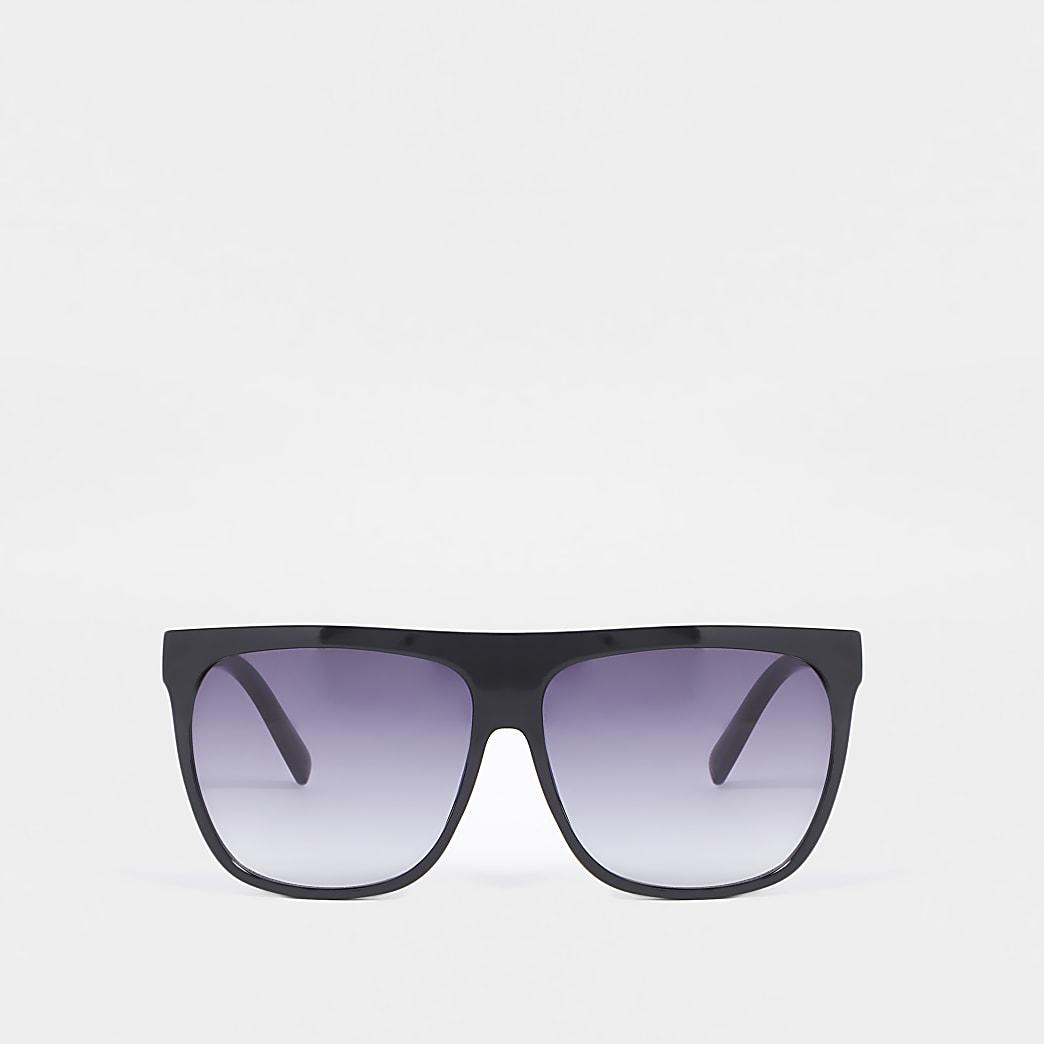 Black flat top visor sunglasses