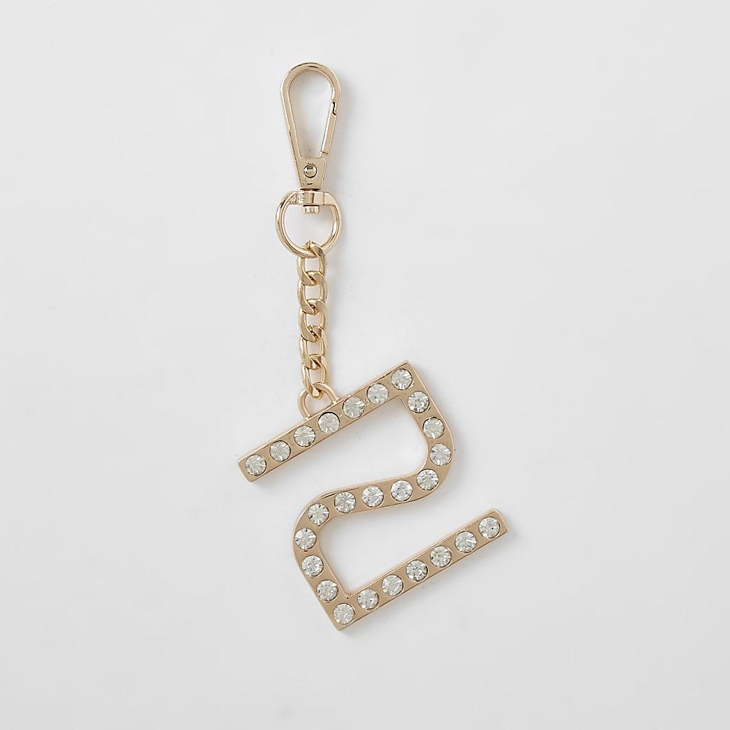 Gold RI diamante encrusted keyring