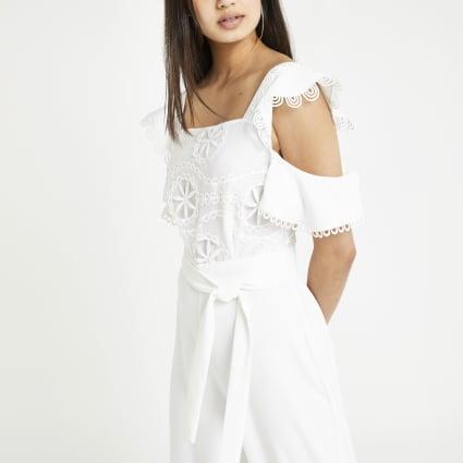 White lace cold shoulder jumpsuit