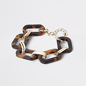 Bruine geschakelde armband met schildpadeffect