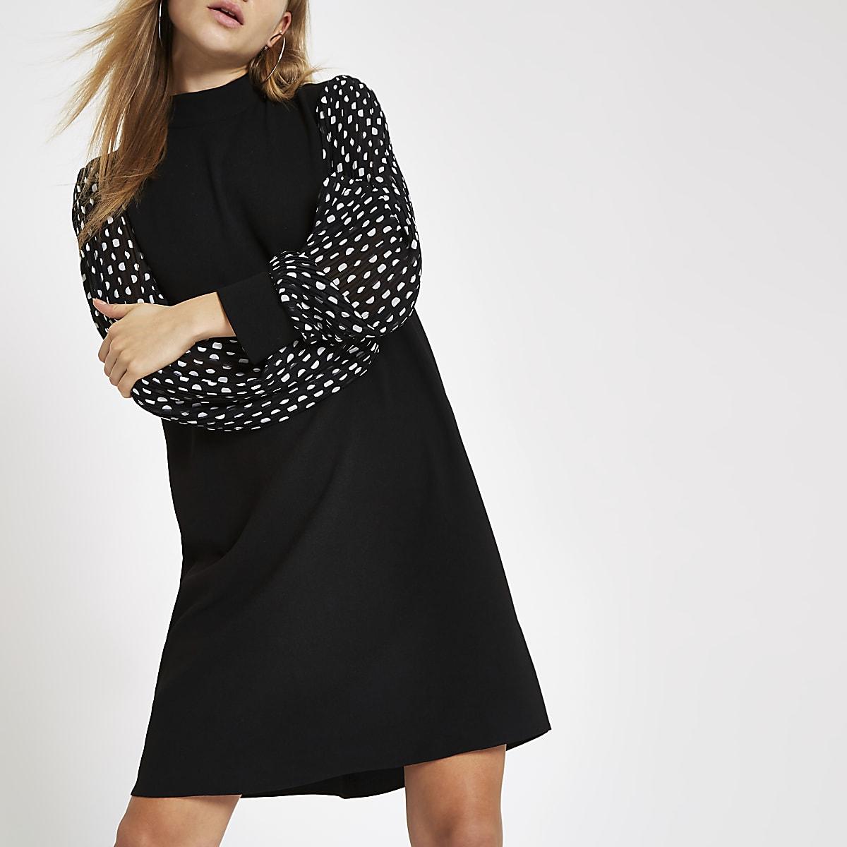 Black spot print sleeve swing dress