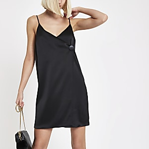 Black button cami swing dress