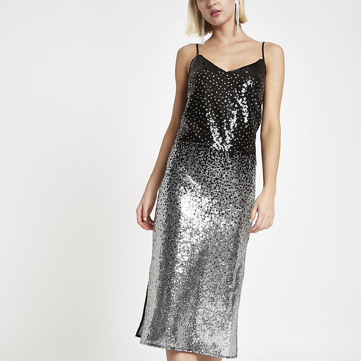 Silver ombre sequin slip dress