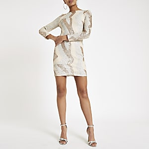 Gold sequin embellished bodycon mini dress