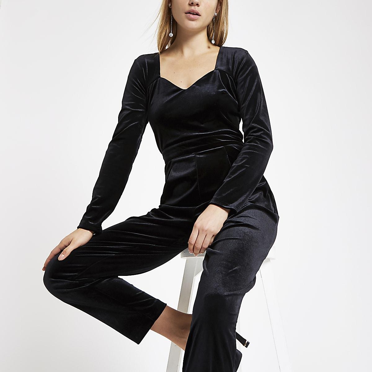 Black velvet long sleeve jumpsuit
