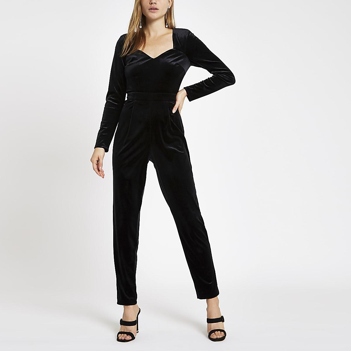 buy sale fashion styles huge inventory Black velvet long sleeve jumpsuit