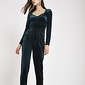 Dark green long sleeve velvet jumpsuit