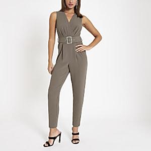 78b3f7f7fd78 Grey wrap tie waist tapered leg jumpsuit