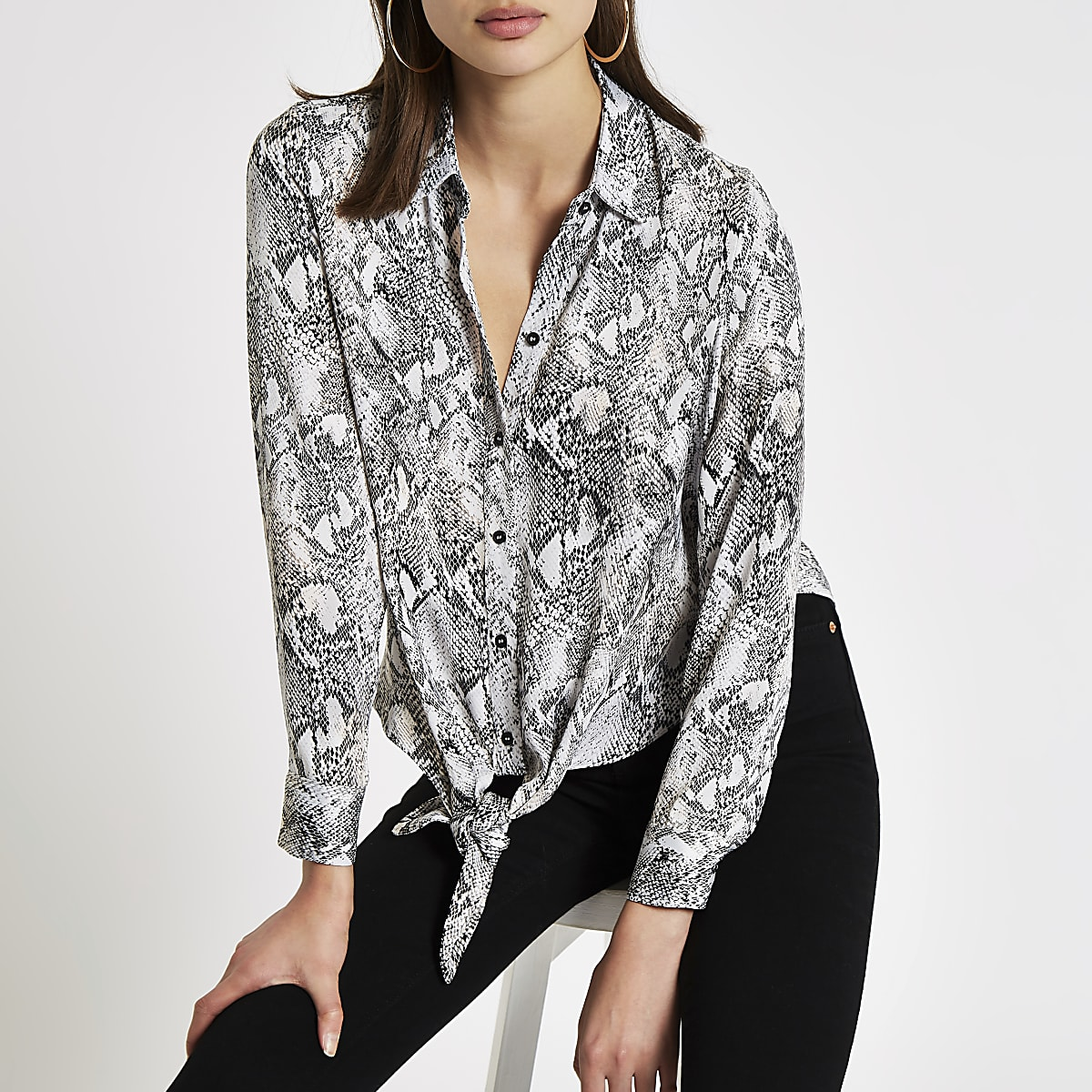 Grey snake print tie front shirt