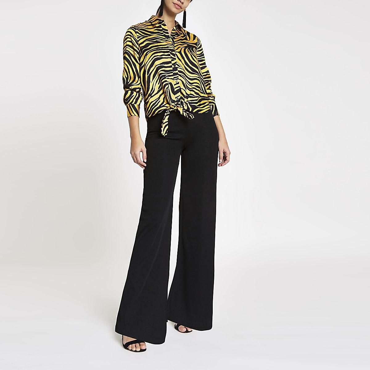 14b81e5a Yellow zebra print tie front shirt - Shirts - Tops - women