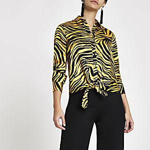 Yellow zebra print tie front shirt