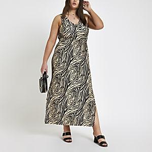 RI Plus - Zwarte maxi-jurk met zebraprint