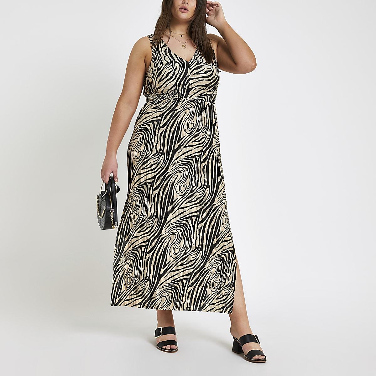 50b2ad315eba4e RI Plus - Zwarte maxi-jurk met zebraprint - Maxi-jurken - Jurken - Dames
