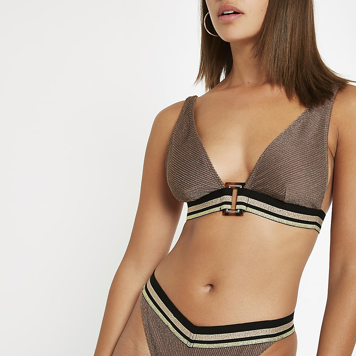 Brown metallic elastic triangle bikini top
