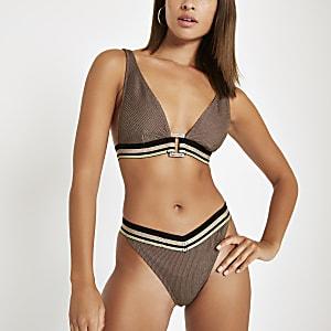 Bas de bikini marron métallisé avec bande élastique