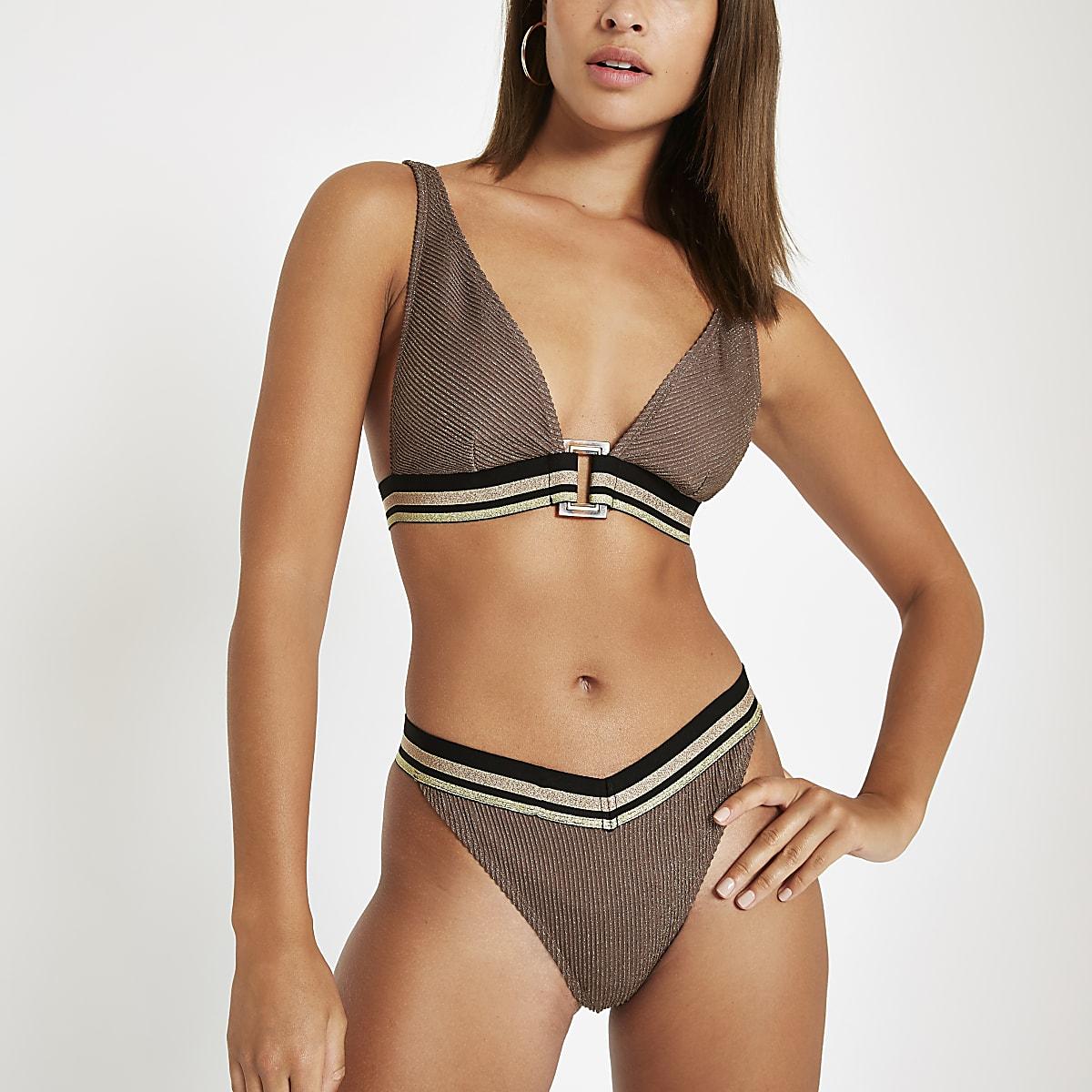 Brown metallic elastic bikini bottoms