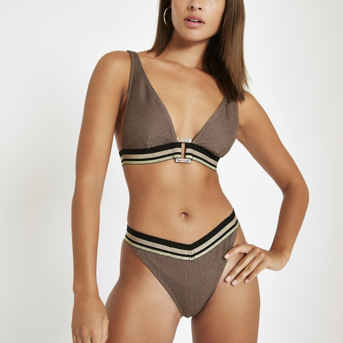 Brown metallic elastic bikini bottoms