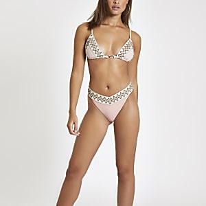 Light pink elastic trim bikini bottoms
