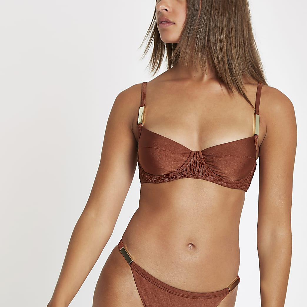 Brown shirred balconette bikini top