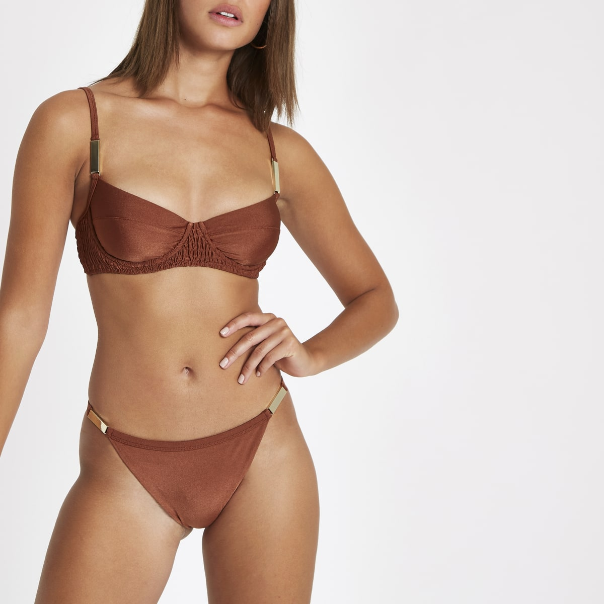 Brown high leg bikini bottoms