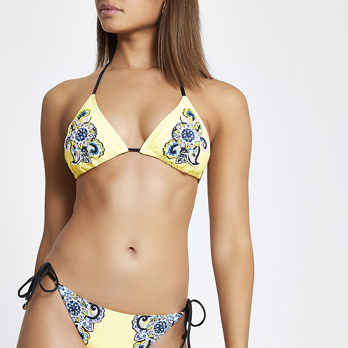 Yellow embellished triangle bikini top