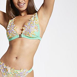Haut de bikini à fleurs vert à broderies montantes