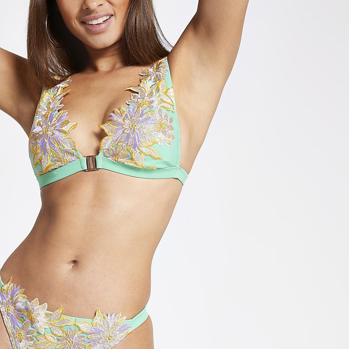 Green floral embroidered high apex bikini top